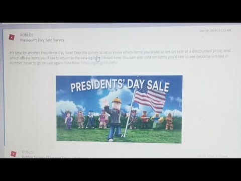 roblox presidents day sale survey 2018 youtube. Black Bedroom Furniture Sets. Home Design Ideas