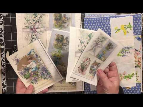 Spring Blossoms antique postcard prints & part digital download kit revealed    dearjuliejulie