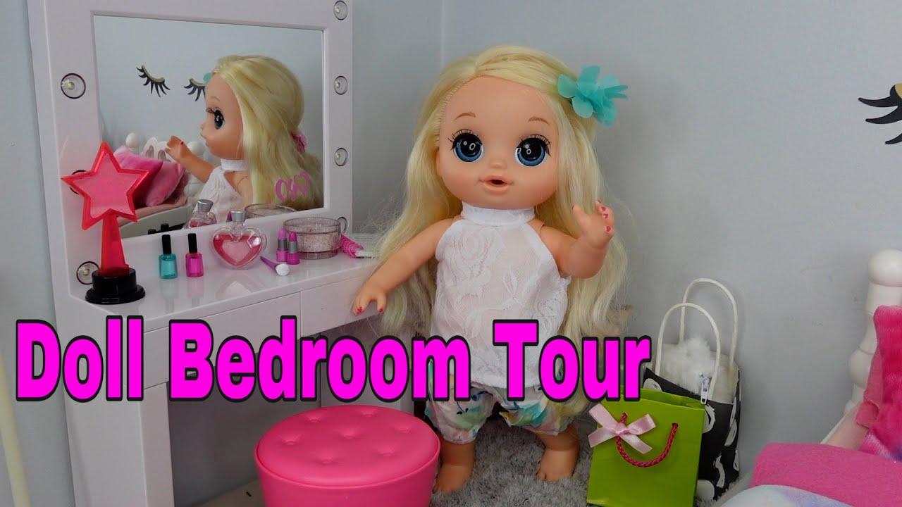 Baby alive Emma's new Bedroom tour baby doll Bedroom with new vanity furniture