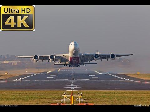 Airport DUS Düsseldorf 4K UHD landing and take off