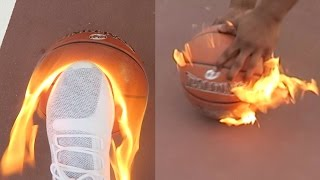 MAN VS. BURNING BASKETBALL SHOOTING CHALLENGE!