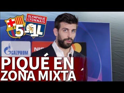 Barcelona 5 - O. Lyon 1|Piqué en zona mixta | Diario AS