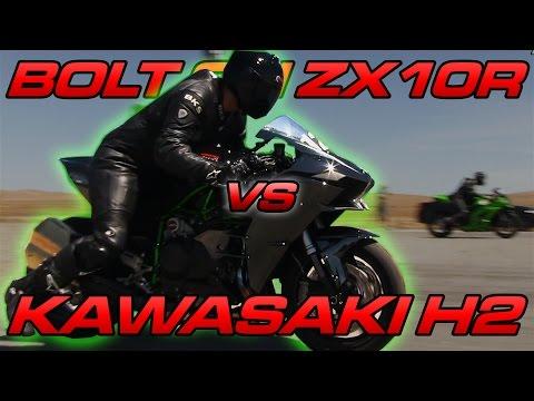 Kawasaki H2 vs Bolt on ZX10R - TOP SPEED