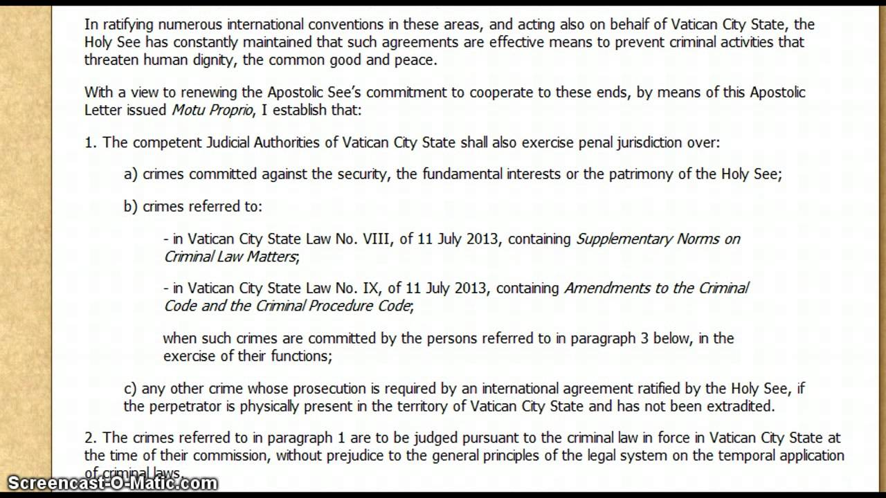 apostolic letter of pope francis strips away high official immunity september 1st 2013