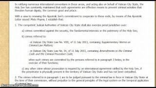 Apostolic Letter of Pope Francis!  Strips Away High Official Immunity September 1st 2013!