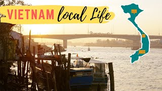 Vietnam: Sunrise Cai Rang Bridge single shot of local life