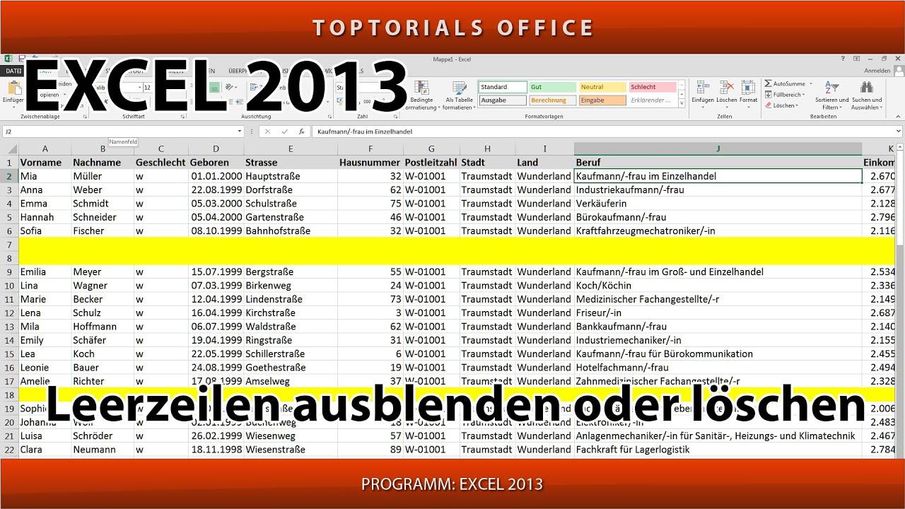 Leere Zeilen ganz einfach ausblenden oder löschen (Excel) - YouTube