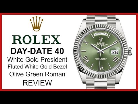 Rolex Day-Date 40, Olive Green Dial, Fluted White Gold Bezel, President Bracelet - REVIEW 228239