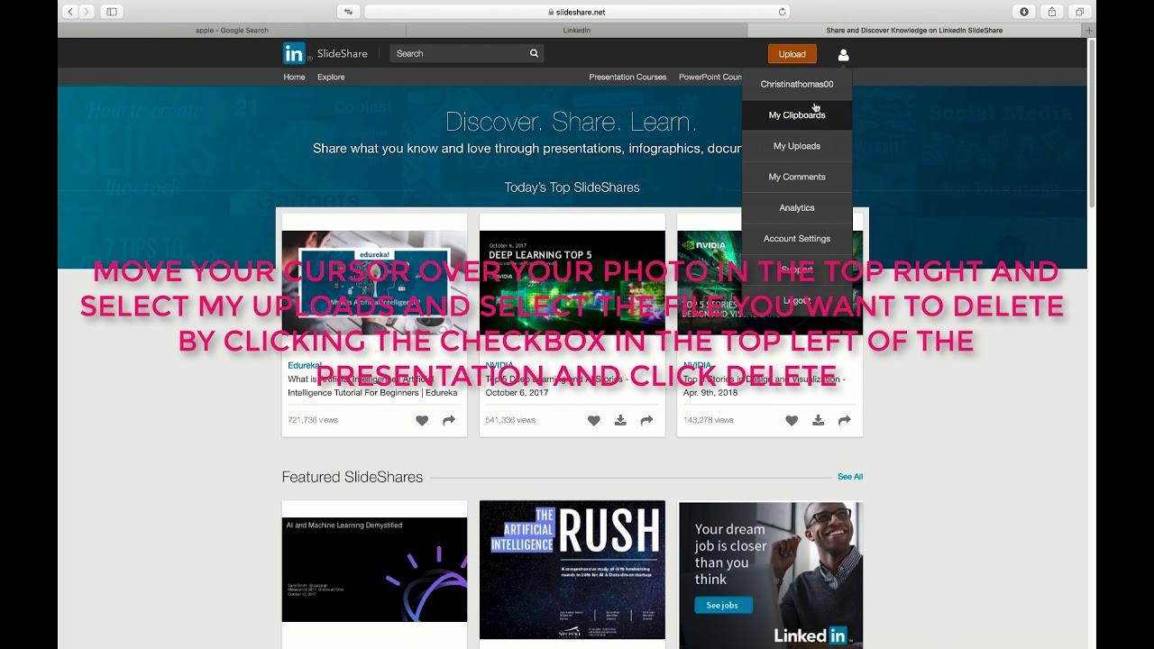 how to remove or delete slideshare presentation on linkedin youtube