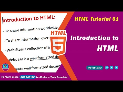 HTML Video Tutorial - 01 - Introduction To HTML | Brief History