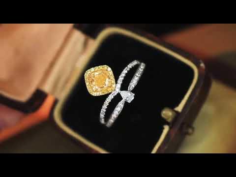 (陳淑芬手作)主石過1克拉的天然黃彩鑽,FANCY YELLOW 、VS, 18K金真鑽戒。配鑽45分,附AGL大證。