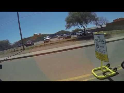 Drive past Indian Oasis Elementary School Zone, Sells, Arizona, Tohono O'odham Nation, GOPR7550