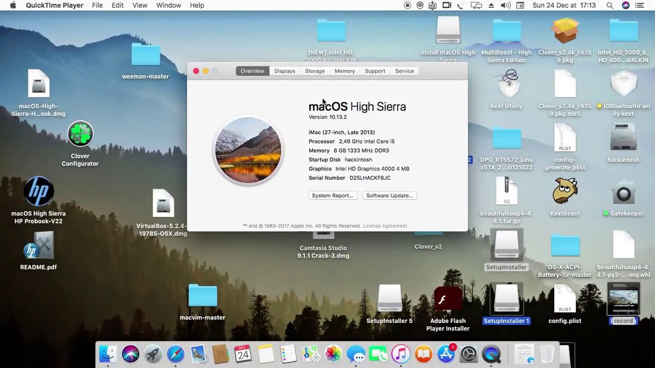 mac os high sierra متبت على حاسوب hp probook