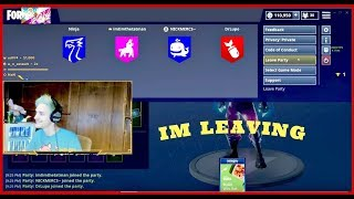 Ninja Gets Roasted By DrLupo And Whole Squad Then Leaves Game 😢😢 | Fortnite Clips