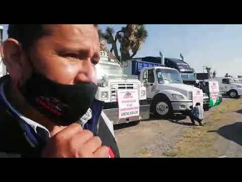 Protestan transportistas sobre la carretera México-Pachuca