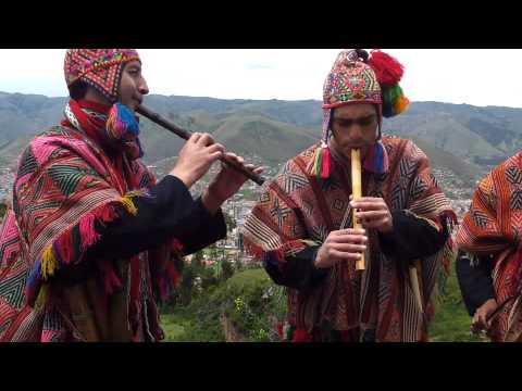 Peruvian flute band plays above Cusco Peru