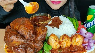 ASMR:EATING SPICY WHOLE CHICKEN CURRY,EGGMASALA WITH BASMATI RICE *FOOD EATING VIDEOS*