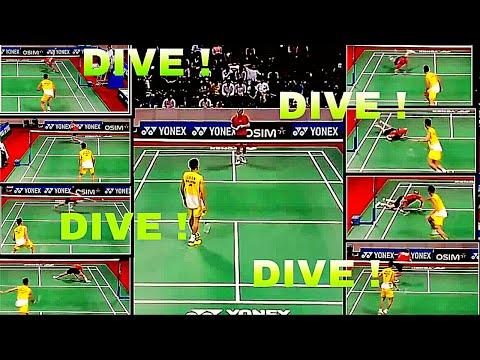 Craziest Badminton Dive Ever ! ★Multiple Dives Rally★Lee Chong Wei vs Scott Evans