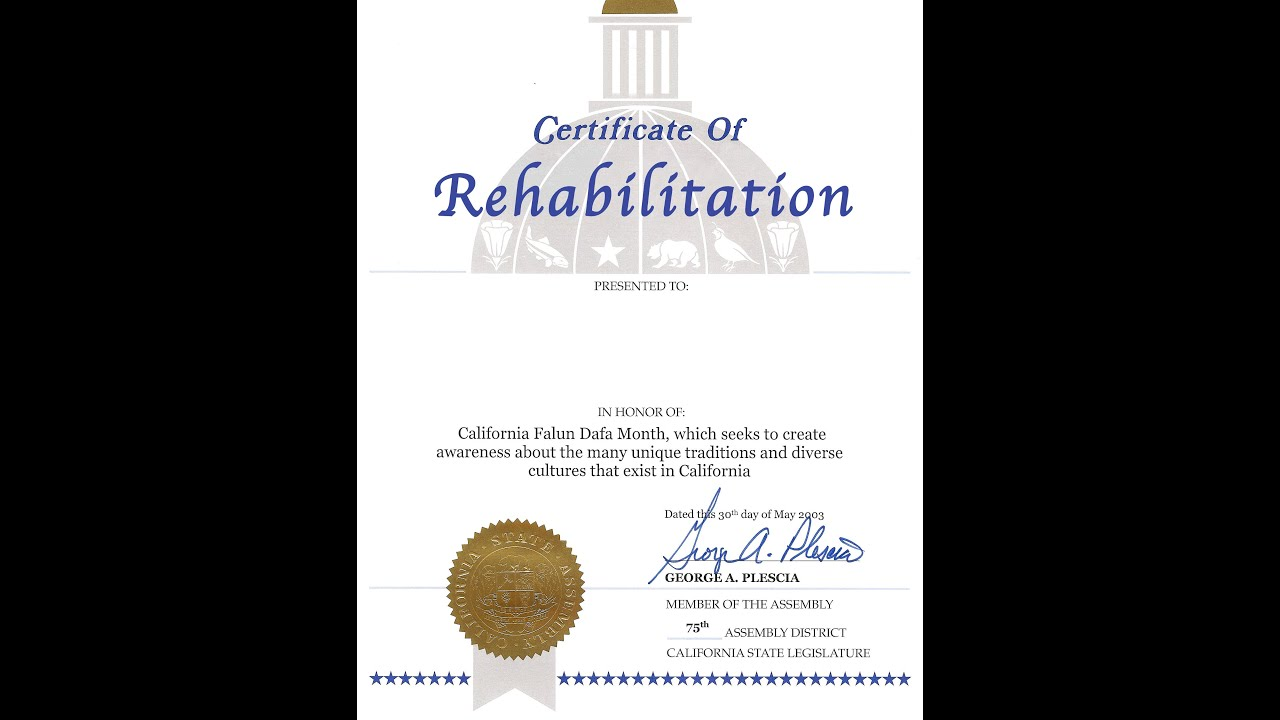 How to get a \'Certificate of Rehabilitation\' in California