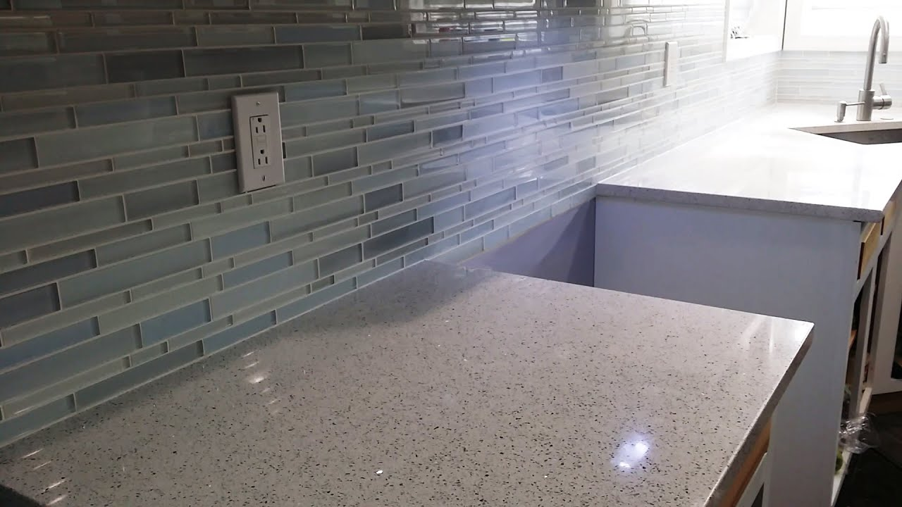 Diy mosaic glass tile backsplash installation zero experience first time ever detailed with tips Backsplash tile installation