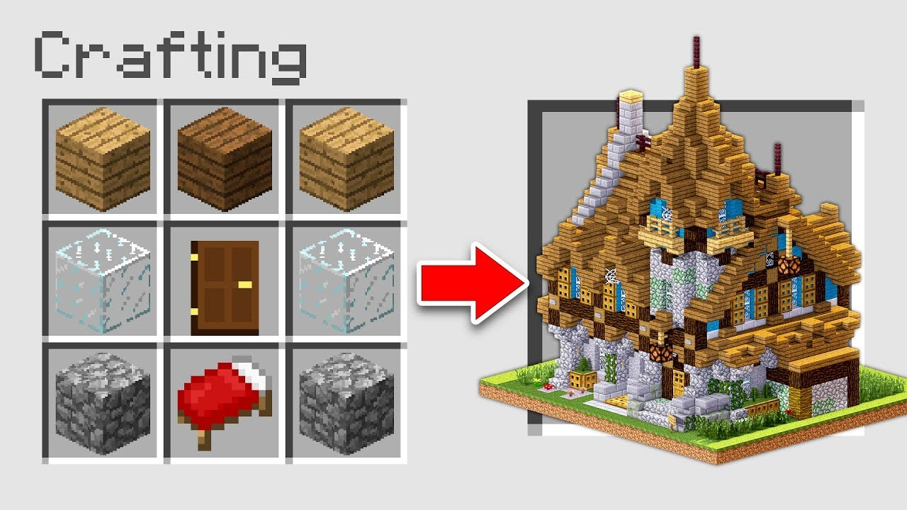 How To Make A House Using Crafting Table On Minecraft Youtube