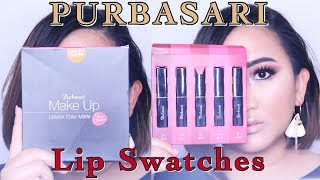 PURBASARI LIPSTICK COLOR MATTE || Lip Swatches (nomer 91 - 95)