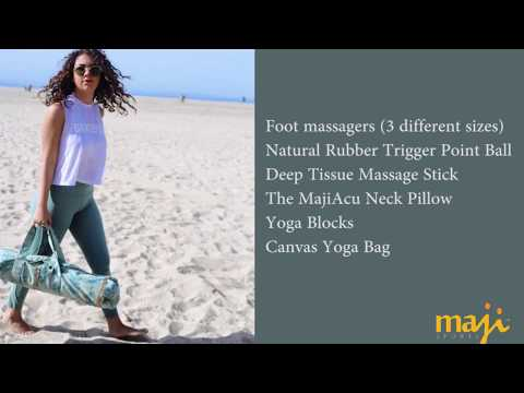 Maji Sports Yoga Accessories - Foot massager, Trigger Ball, Massage Stick, Neck Pillow, Blocks, Bag