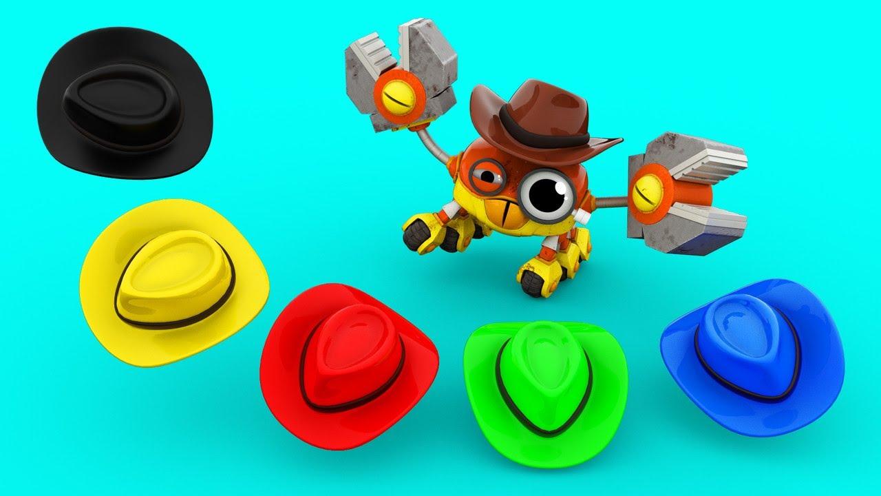 Aprenda cores jogando o jogo do chapéu Aprendendo com Veículos & Animais para crianças - AnimaCars