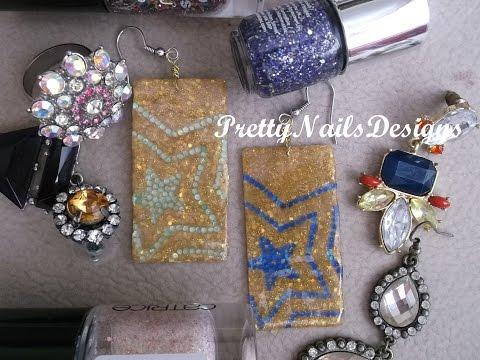 DIY Acrylic Golden & Rhinestones Star Earrings