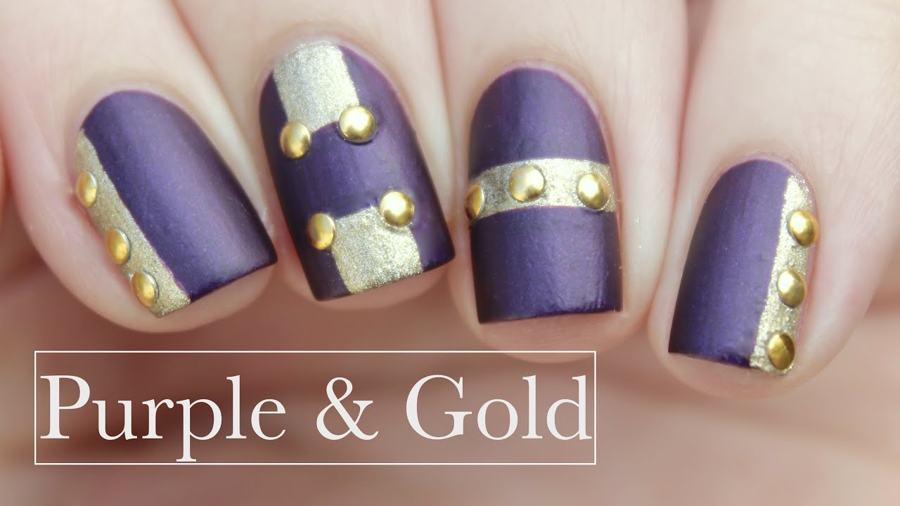 Edgy Purple & Gold | New Years Eve Nails - YouTube