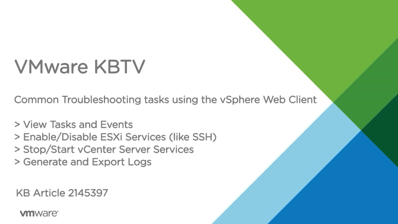 Common Troubleshooting Tasks in the vSphere Web Client - YouTube