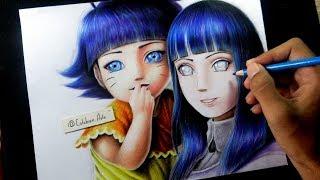 Como dibujar a Hinata Hyuga y Himawari Uzumaki - how to draw Hinata and himawari - COLORES ESCOLARES