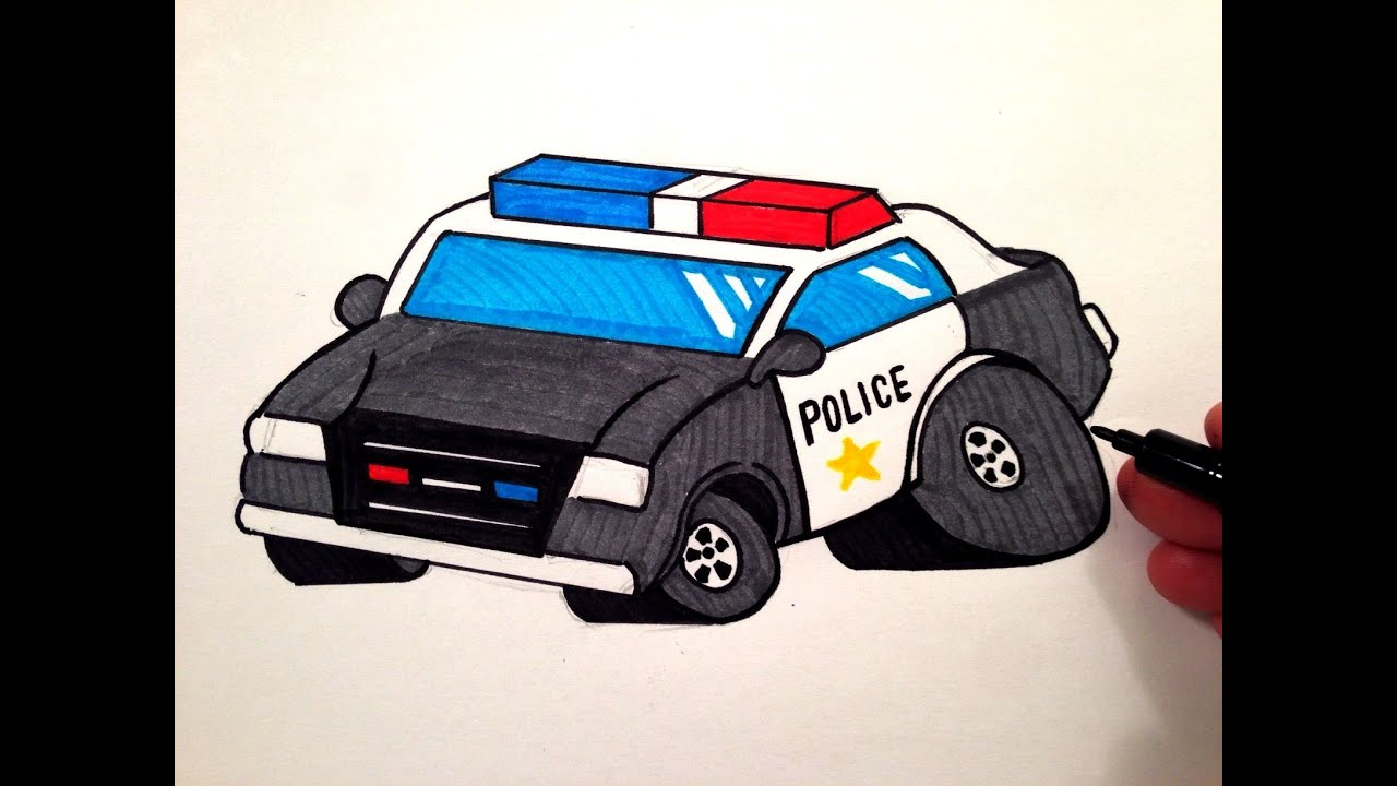 How to Draw a Cool Police Car - YouTube