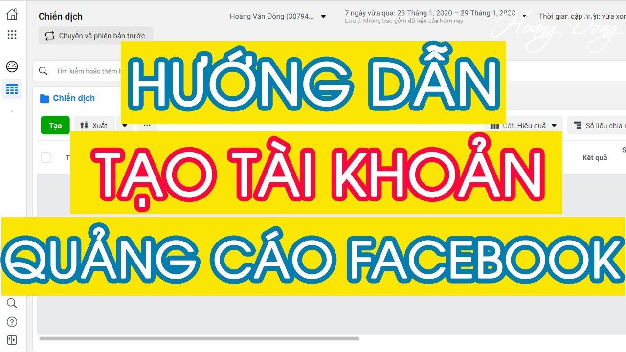 HƯỚNG DẪN TẠO TÀI KHOẢN QUẢNG CÁO FACEBOOK 2020 | HoangDongBM