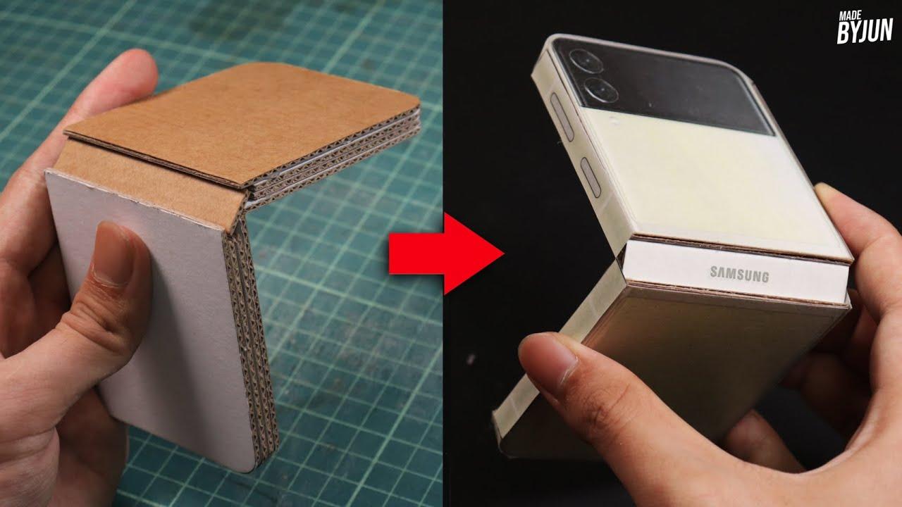 박스로 갤럭시 Z 플립3 만들기 (박스 에디션) | 실제로 접히고 펴진다!