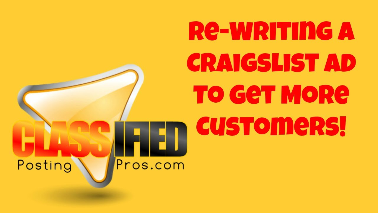 Re Writing a Craigslist Ad to Get More Customers - YouTube