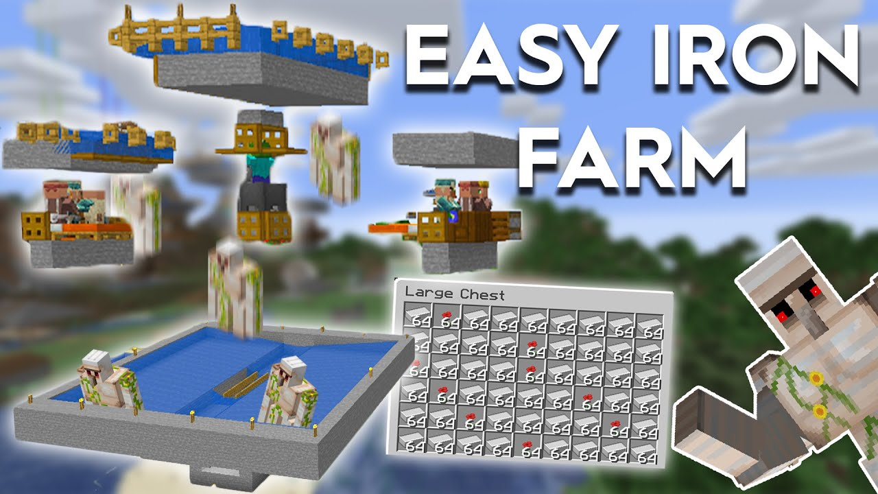 Minecraft Simple Iron Farm Easy Build 1 16 1 15 Youtube