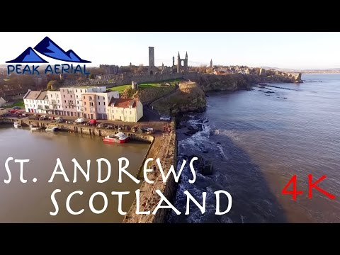 St Andrews Scotland, Old Harbour, Cathedral & Castle Ruins  (4K)