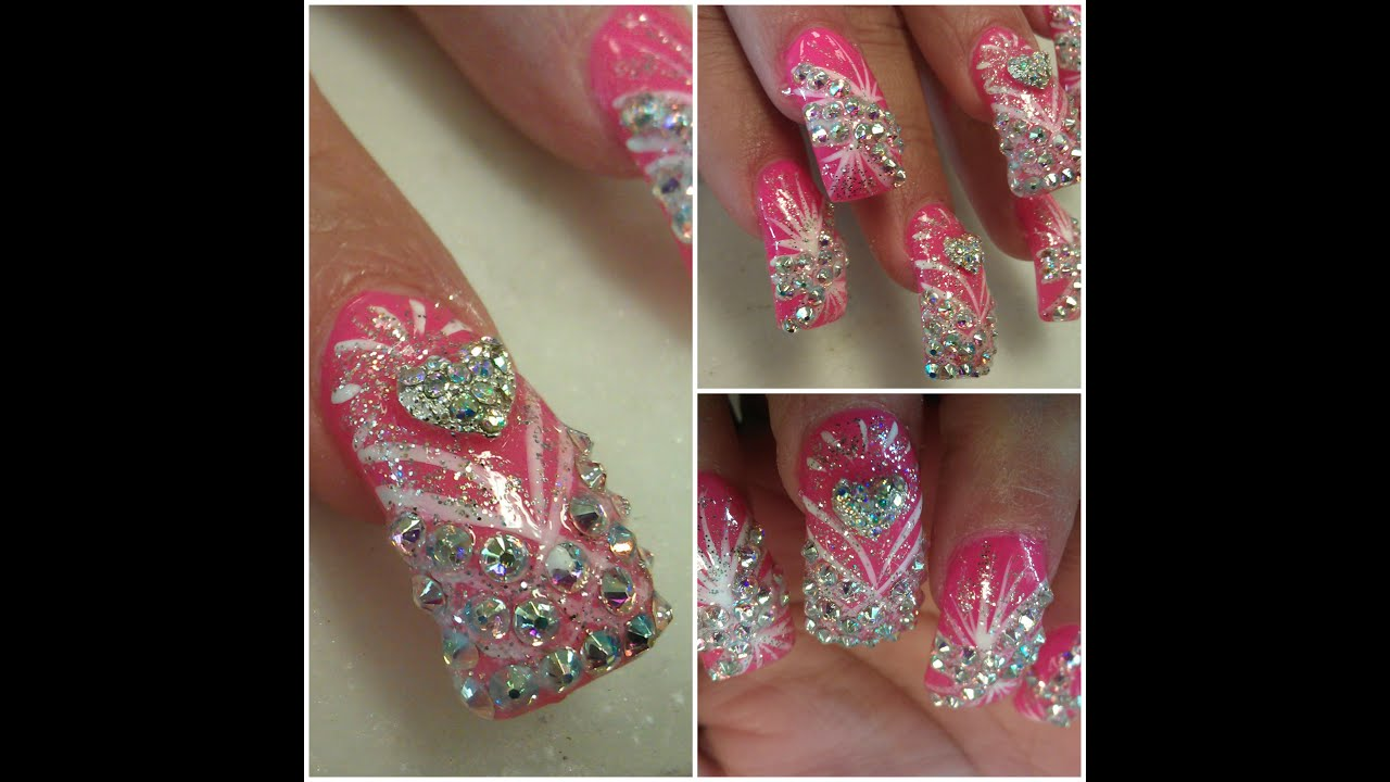SWAROVSKI DIAMOND NAIL DESIGNS BLING BLING - YouTube