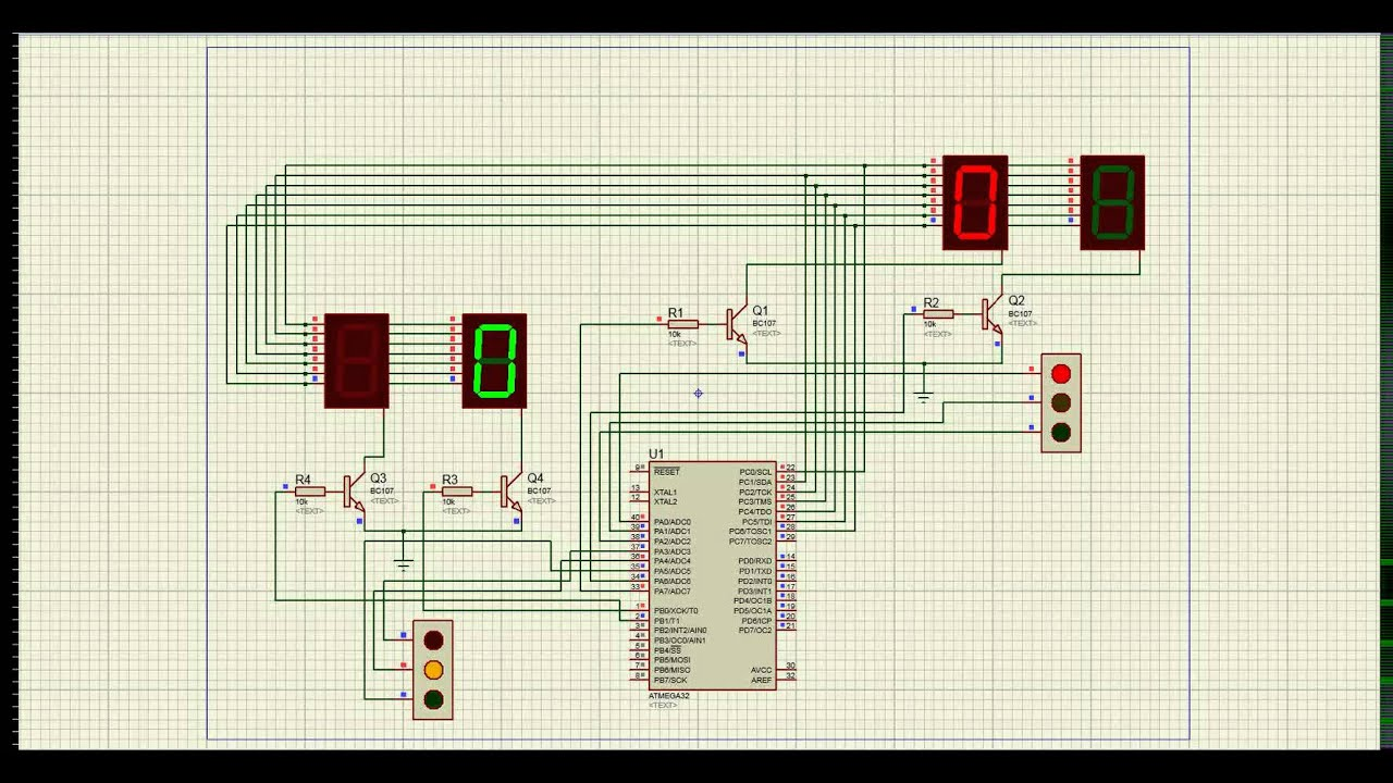 Trafic light Proteus 8 Professional Schematic Capture - YouTube