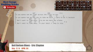 🎻 Bell Bottom Blues - Eric Clapton Bass Backing Track with chords and lyrics