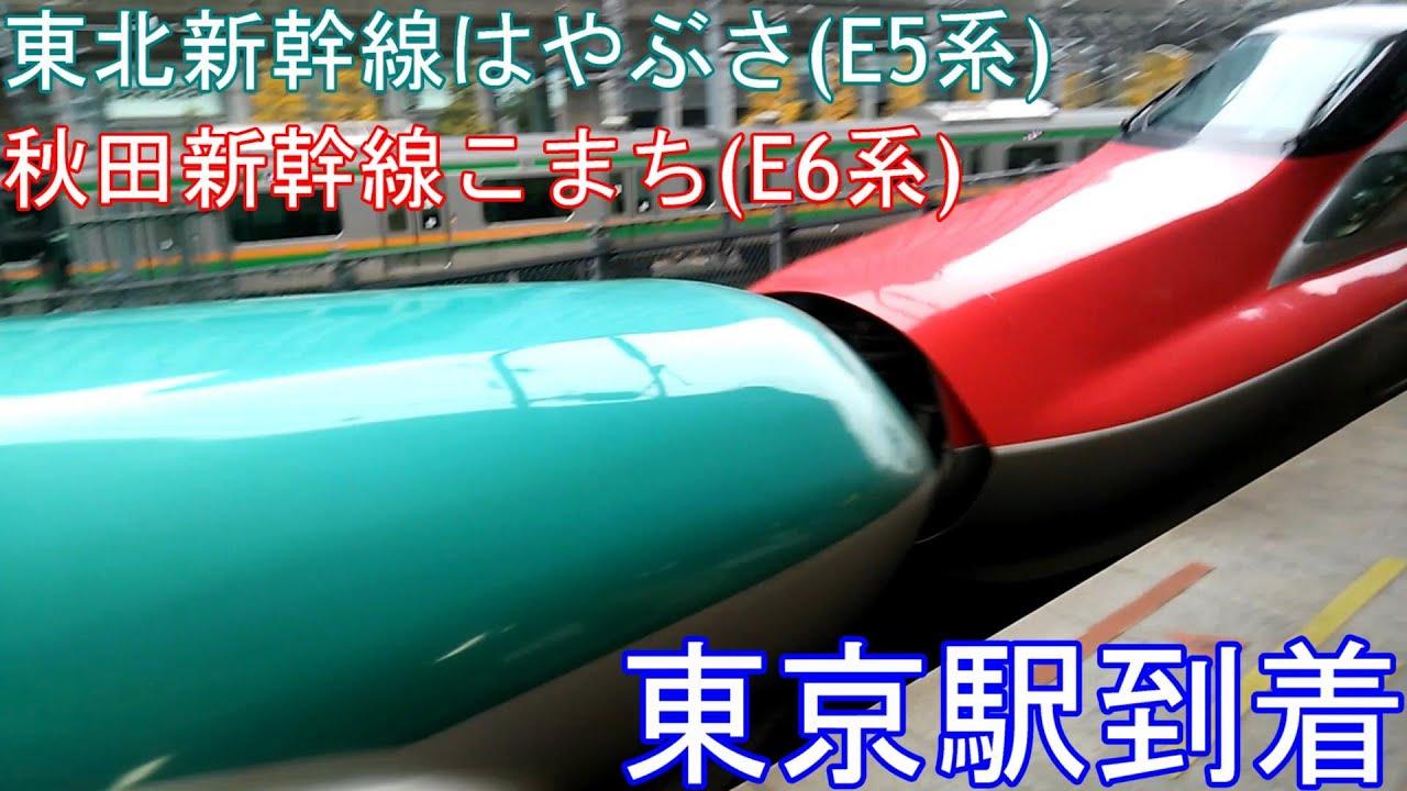 新幹線 東北 秋田新幹線 E5系 E6系 はやぶさ こまち連結 東京駅着 Youtube