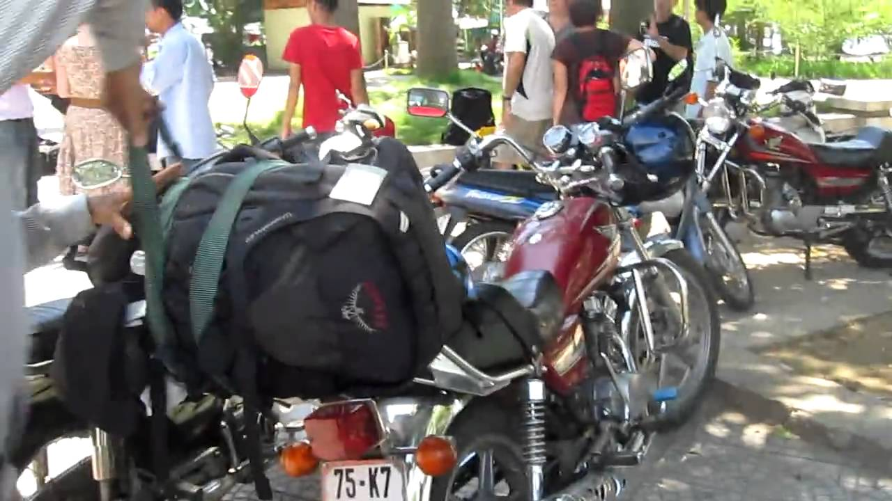 Loading My Backpack On Motorbike - YouTube