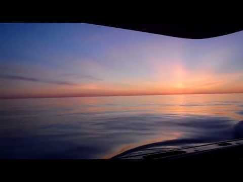 False Dawn and Eventual Sunrise. Lobster Fishing Georges Bank