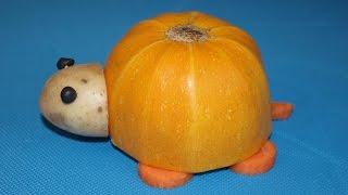 Черепаха из кабачка. Как сделать осеннюю поделку из овощей в детский сад и школу.