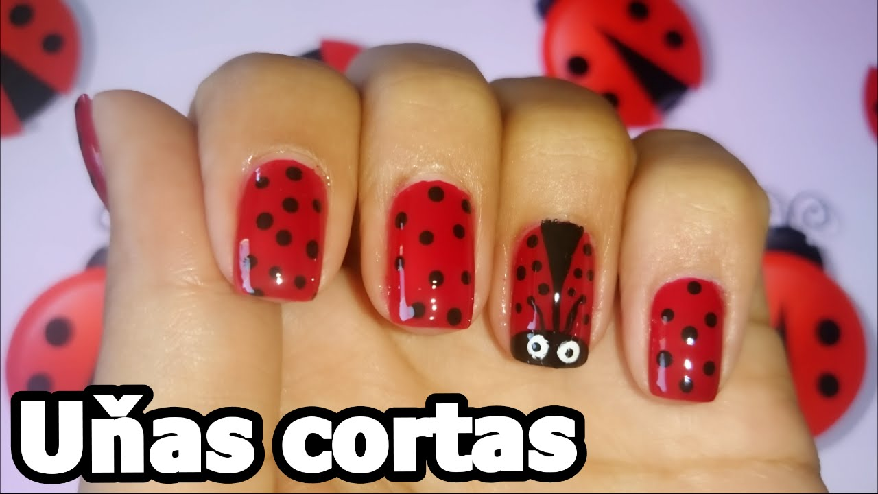 Decoracion de u as cortas f cil mariquitas easy nail Decorado de unas facil y sencillo