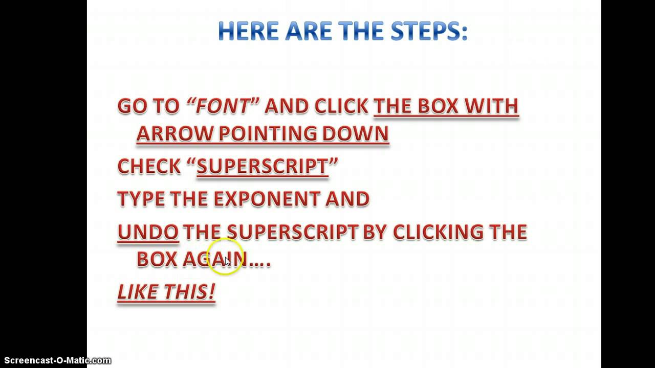 How To Put Exponents On Powerpoint Youtube