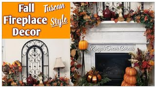 Fall Fireplace Mantel and Hearth | Tuscan Inspired | Decorate With Me | Vlogust Day 31