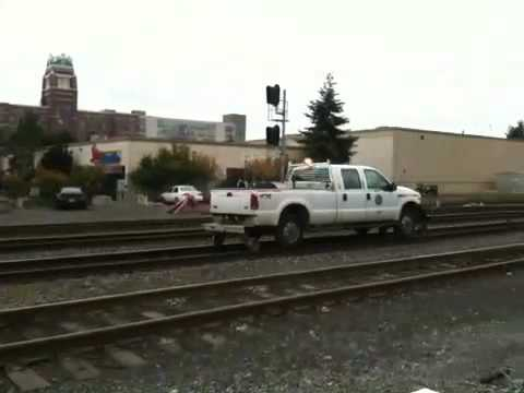 Pickup Truck On Train Tracks