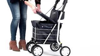 Produktvideo zu Kunstleder-Einkaufstrolley mit Sicherheitsbremse & Sitzmöglichkeit Carlett Lett 800 Black